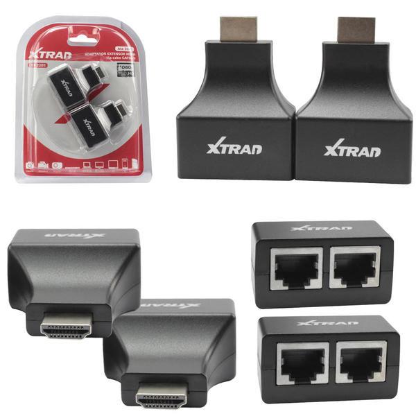 Adaptador Extensor HDMI via Cabo CAT5/6 1080p XT-2201 XTRAD