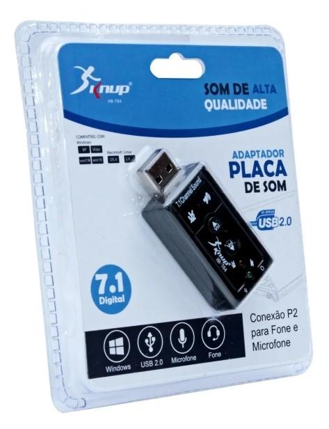 Adaptador Placa de Som USB 2.0 P2 Fone e Microfone HB-T64 Knup