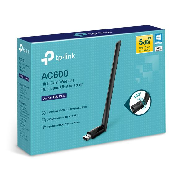 Adaptador USB Dual Band Wireless AC600 Archer T2U Plus TP-Link