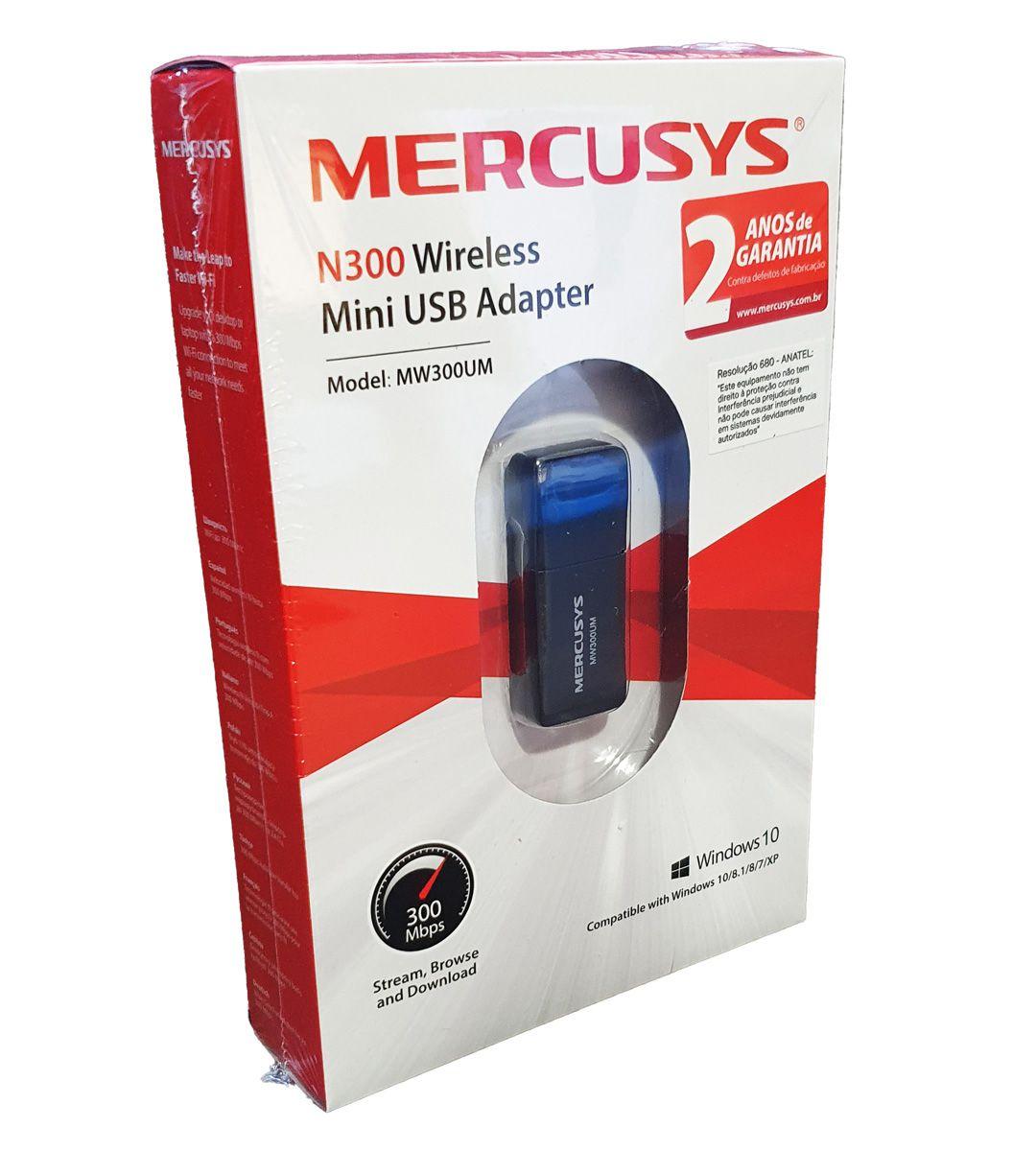 Adaptador Wireless USB N300 Mercusys Compacto 300mbps