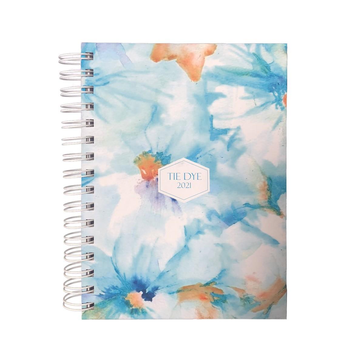 Agenda Pautada A5 168fls 2021 Tie Dye Flower Blue doSul