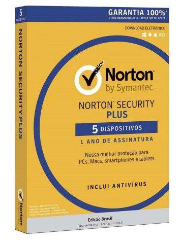 Antivirus Norton 3.0 Security Plus Licença para 5 dispositivos 1 ano de assinatura