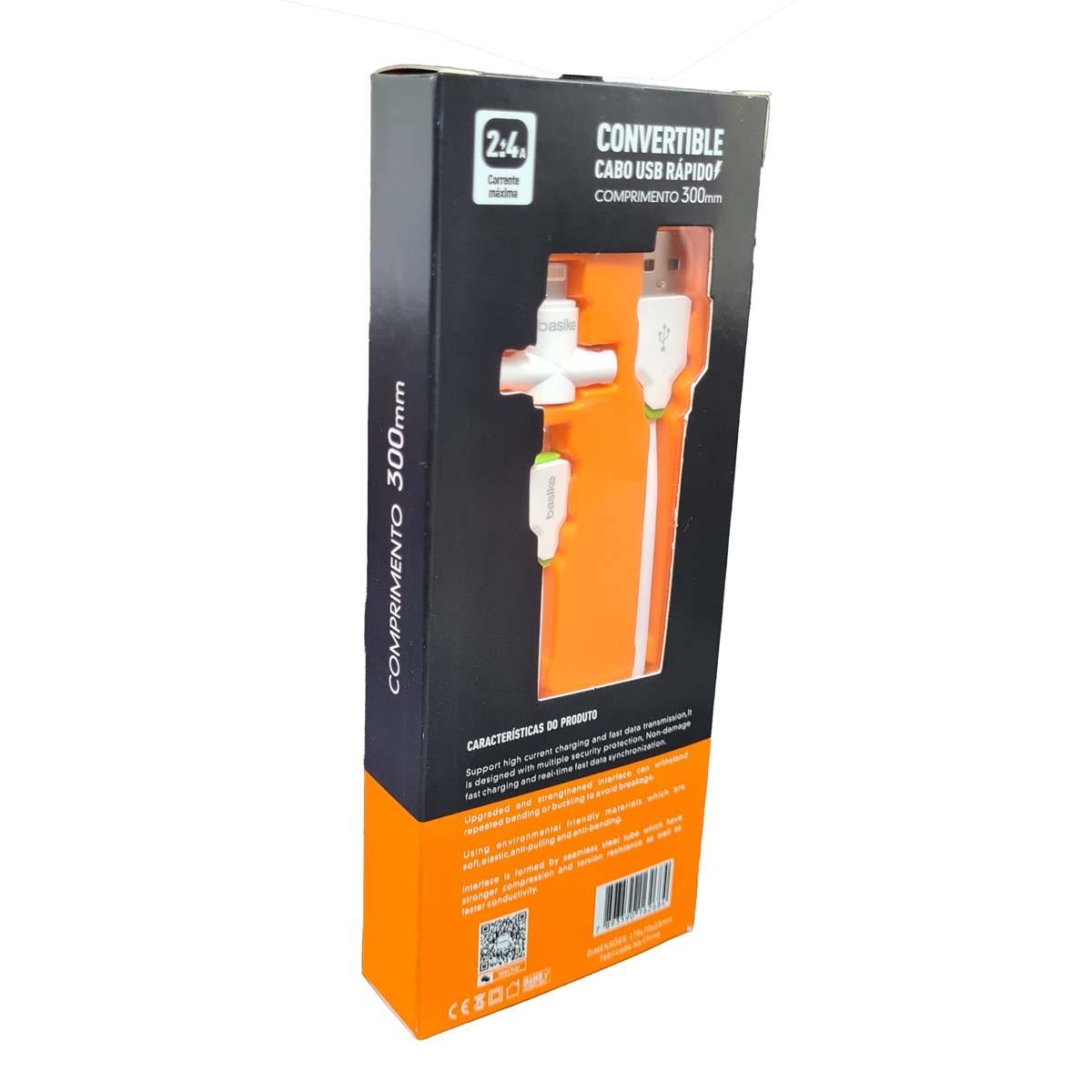 Cabo carregador Rápido USB 2 em 1 Lighting e V8  2.4A com 30cm