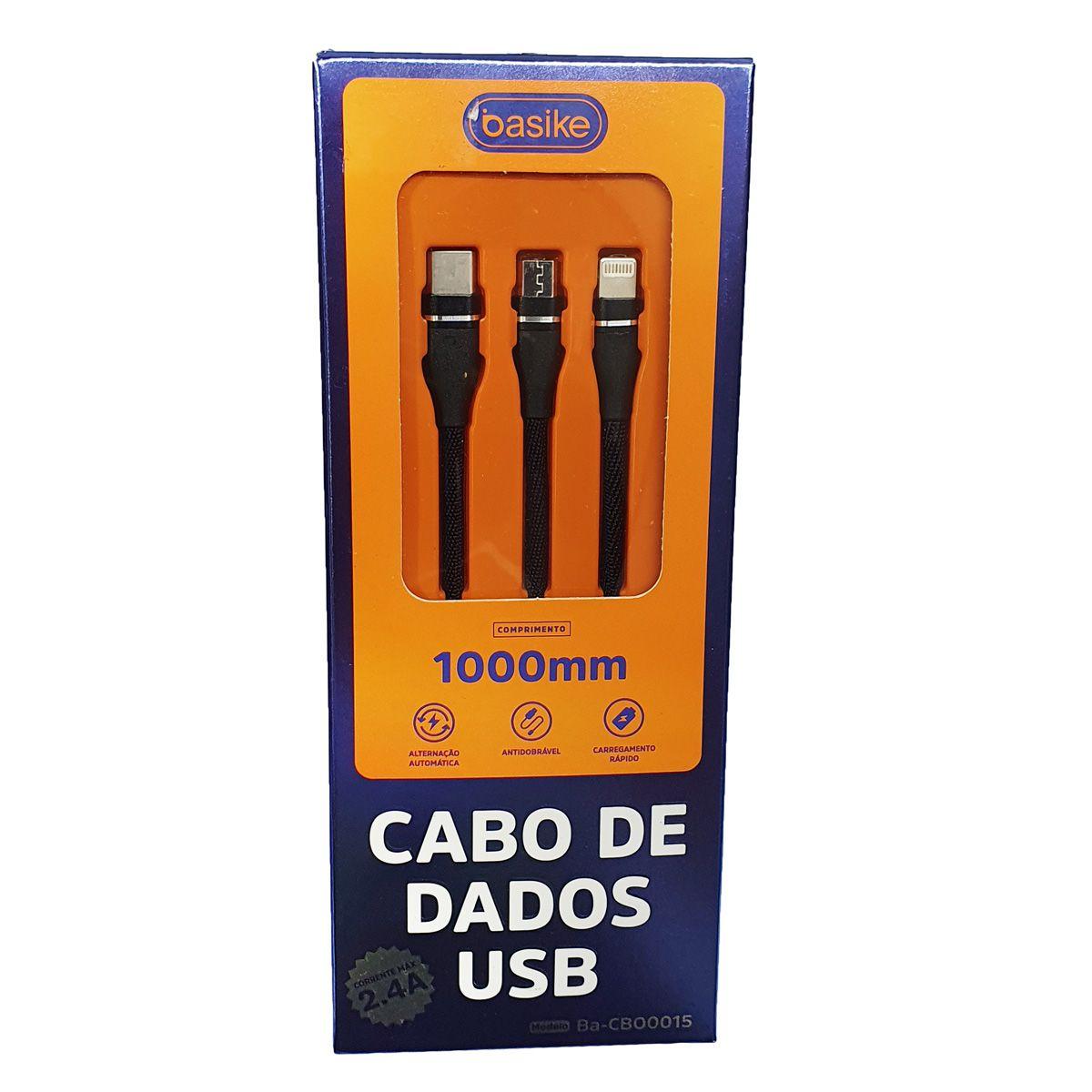 Cabo carregador USB 3 em 1 Lighting Tipo C e V8 com 1 metro 2.4A