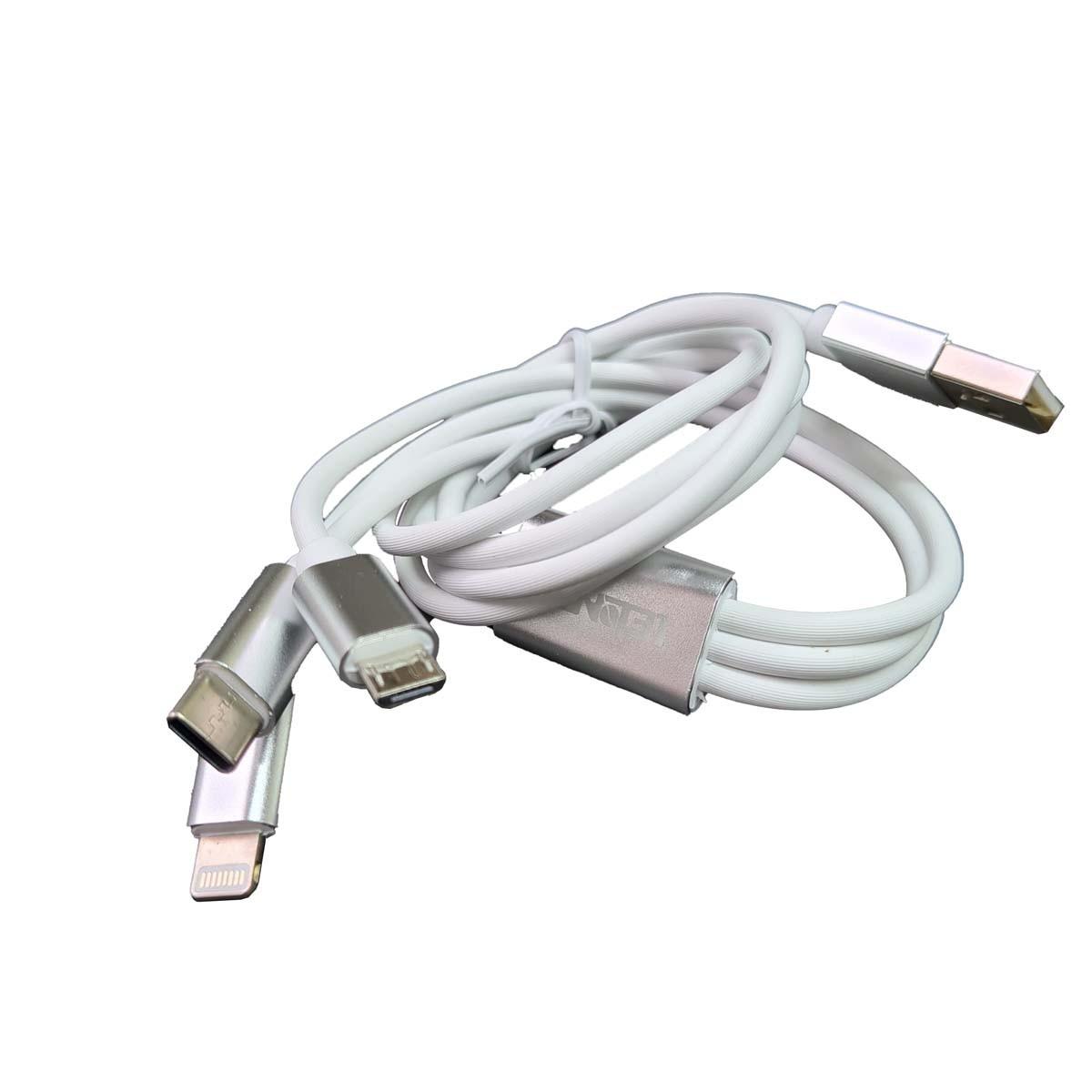 Cabo carregador USB 3 em 1 Lighting Tipo C e V8 1metro Lelong LE-835