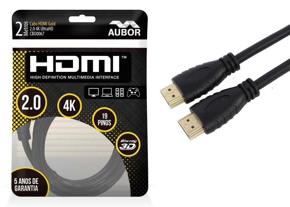 Cabo HDMI 2.0 2 Metros 4K Ultra HD Aubor