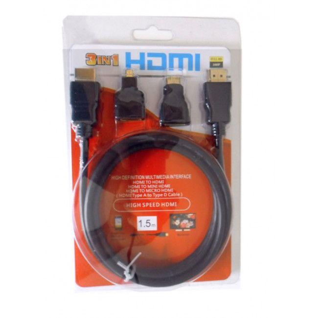 Cabo HDMI 3 Em 1 Com Adaptadores Mini HDMI E Micro HDMI