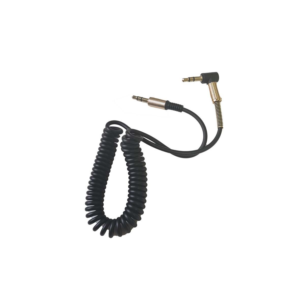 Cabo P2 X P2 90 Graus 1m Espiral Áudio Estéreo Conector Plugue