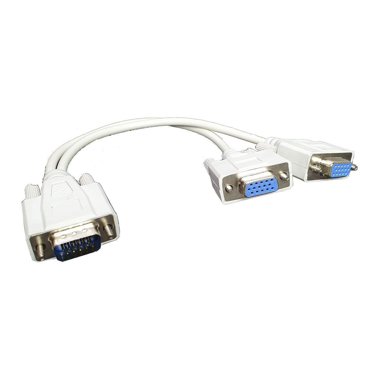 Cabo Y duplicador VGA para 2 monitores 1 VGA Macho X 2 VGA Femea