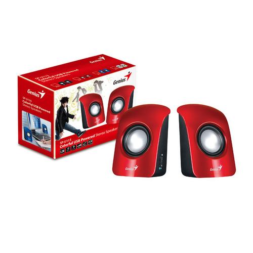 Caixa de Som 2.0 3W RMS para PC USB Vermelha Genius SP-U115