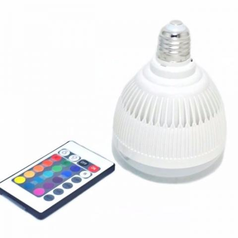Lâmpada LED 16 cores com com controle Toca Musica Som Bluetooth