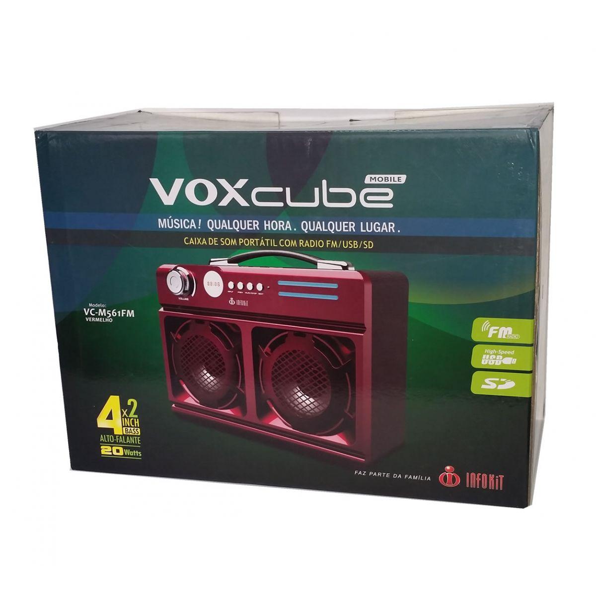 Caixa de Som Mobile VOXcube VC-M561FM Speaker System Radio FM USB Cartão SD