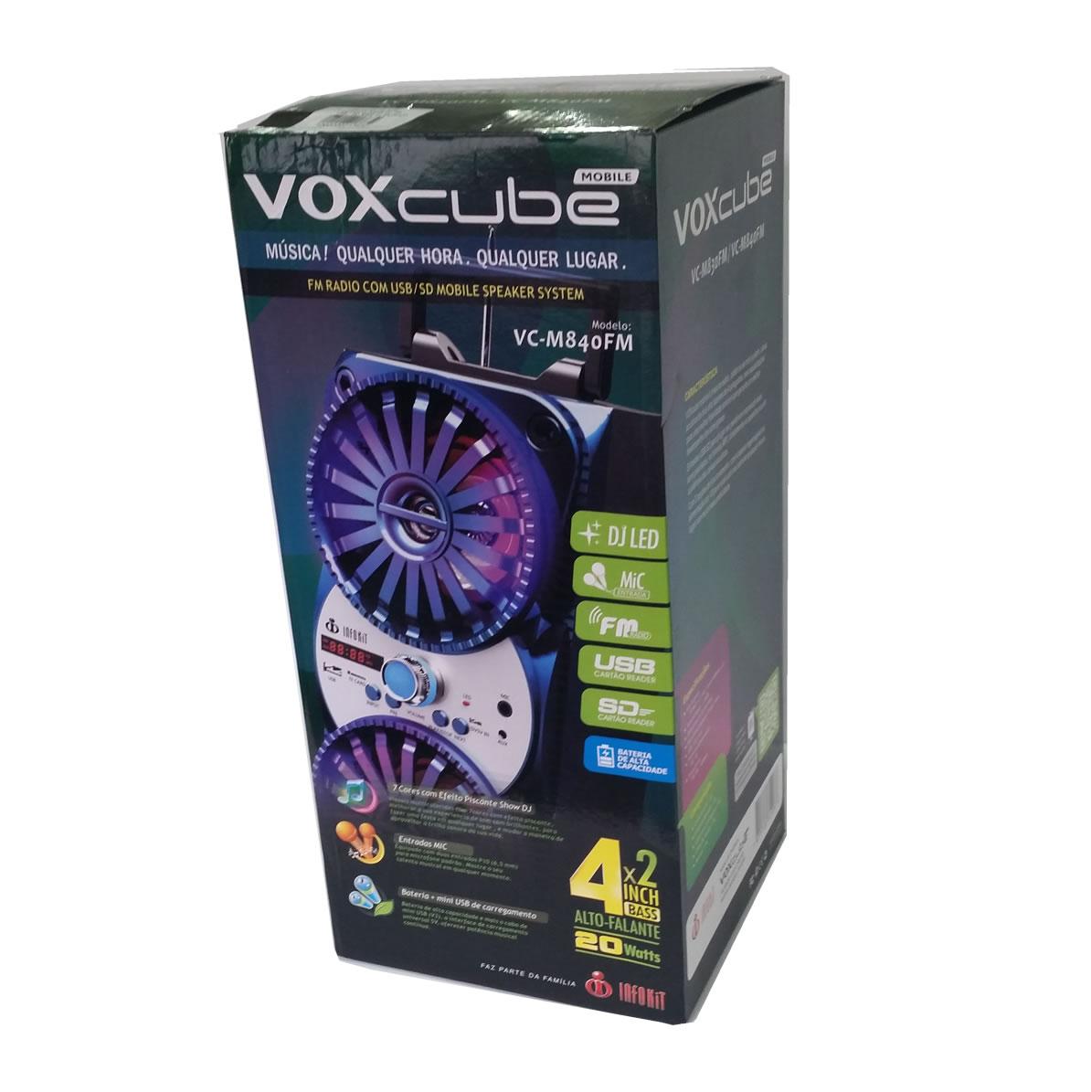 Caixa de Som Mobile VOXcube VC-M830FM Speaker System Radio FM USB Cartão SD