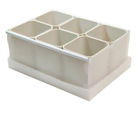 Caixa Organizadora com 6 Porta Objetos Cinza