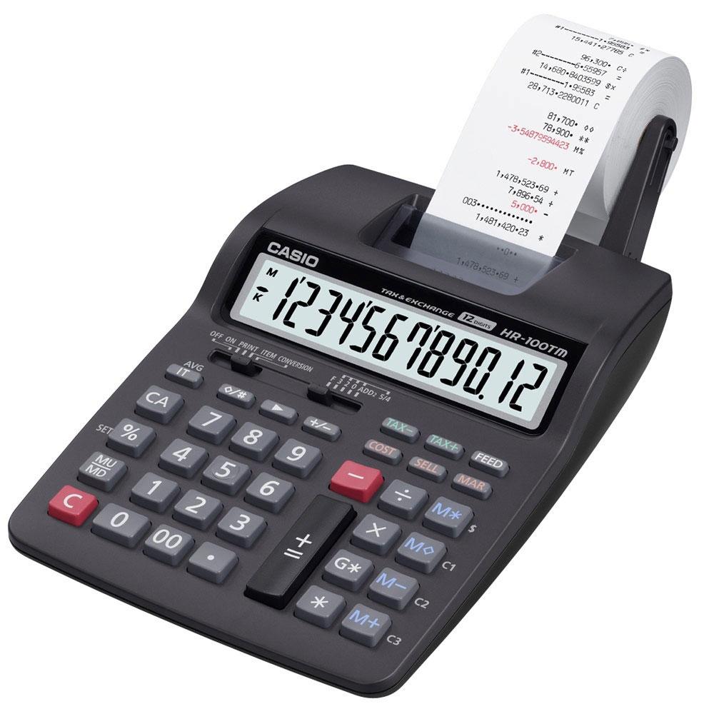 Calculadora com Bobina Casio 12 Dígitos HR-100TM