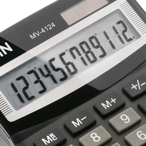 Calculadora de Mesa com 12 Dígitos Preta MV4124 Elgin