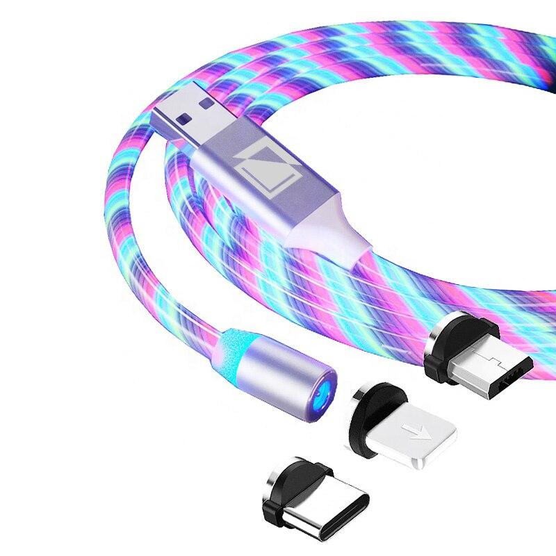 Carregador com Cabo Magnético 360° Lightning Micro USB Tipo C com LED X-Cable