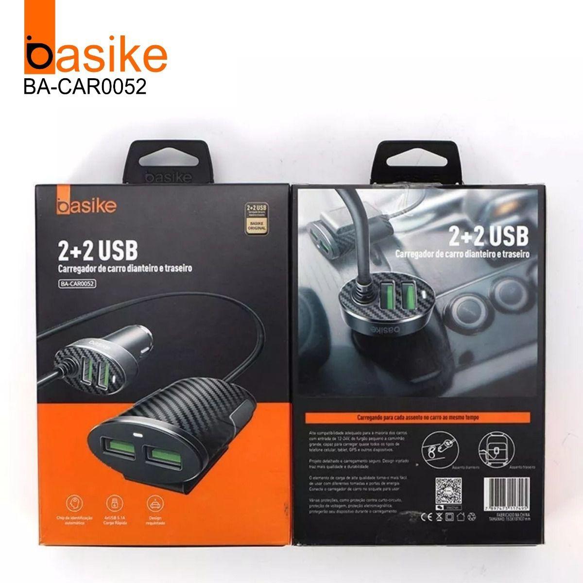 Carregador de Carro dianteiro e traseiro 4 USB Basike
