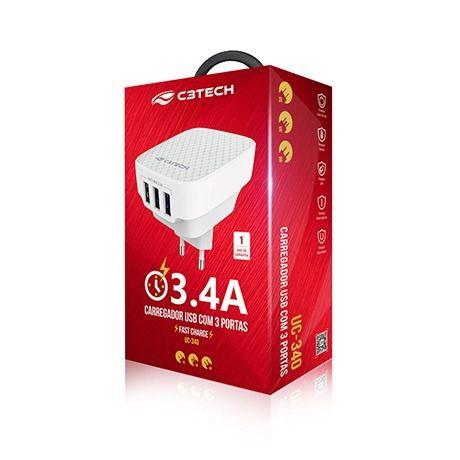 Carregador celular de parede 3 portas USB 3.4A UC-340 C3Tech