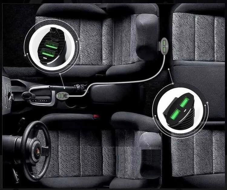 Carregador Veicular 4 USB Extensor para Passageiro Uber Taxi