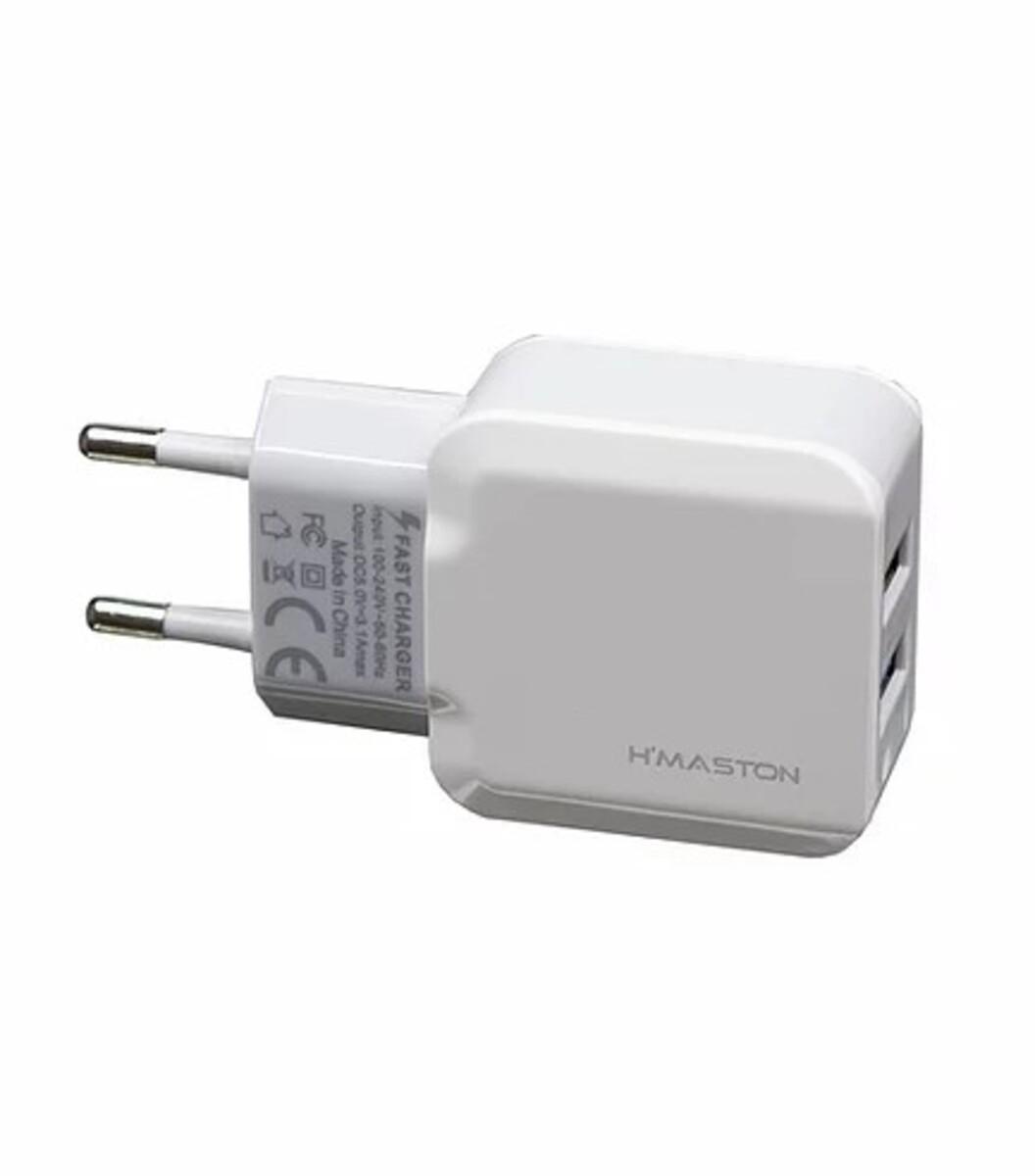 Carregador Rápido 3.1A V8 com 2 USB Branco Y18-1 H'Maston