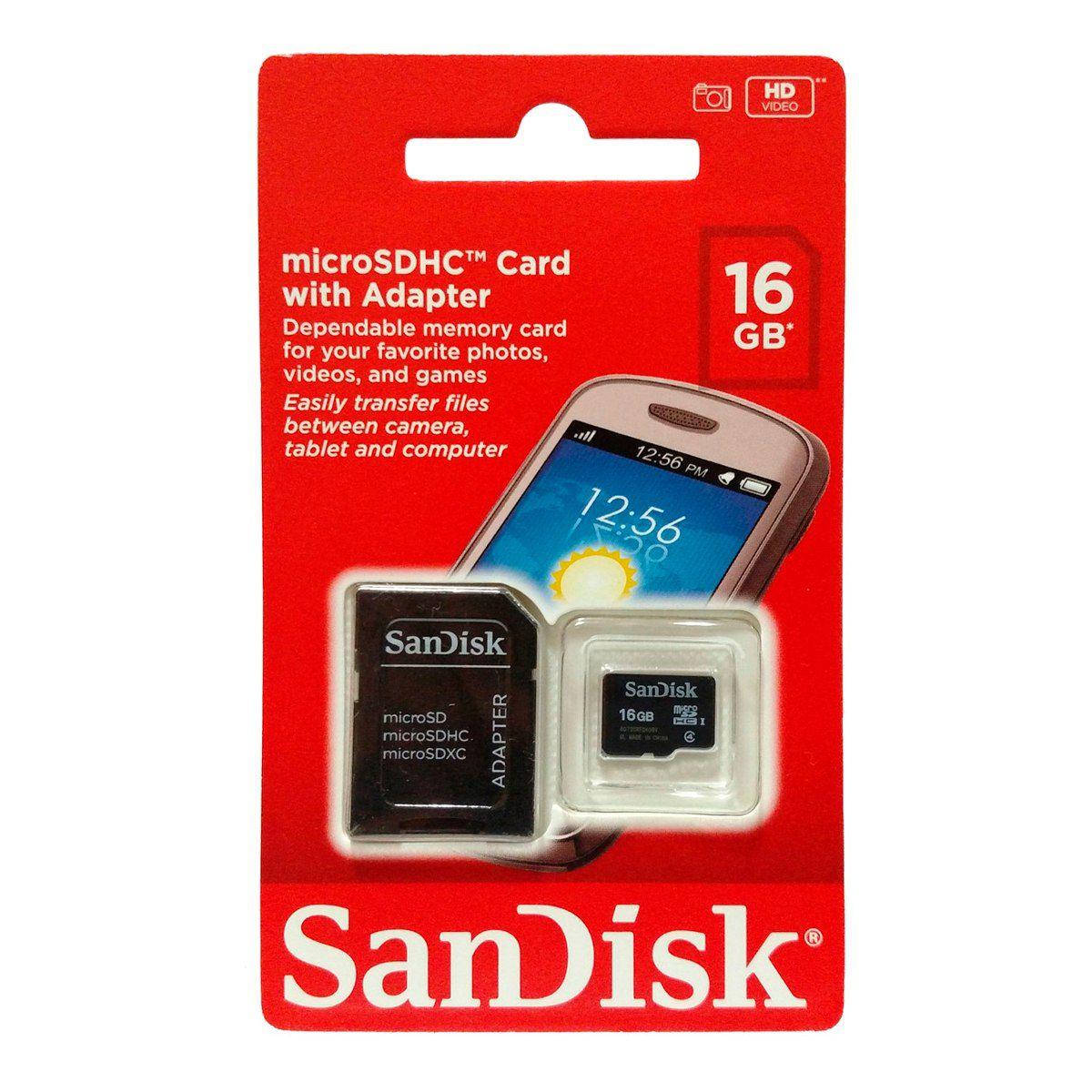 Cartão de Memória Micro SD 16GB 16 GB Sandisk para celular tablet e GPS