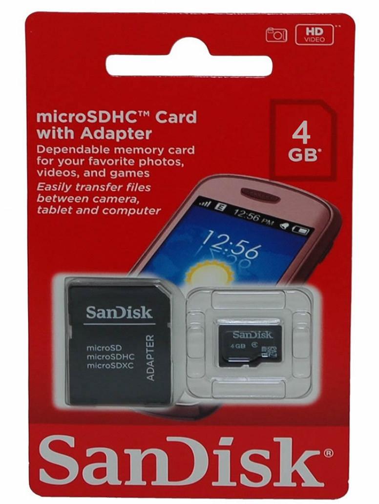 Cartão de Memória Micro SD 4GB 4 GB com adaptador 2x1 para SD Sandisk