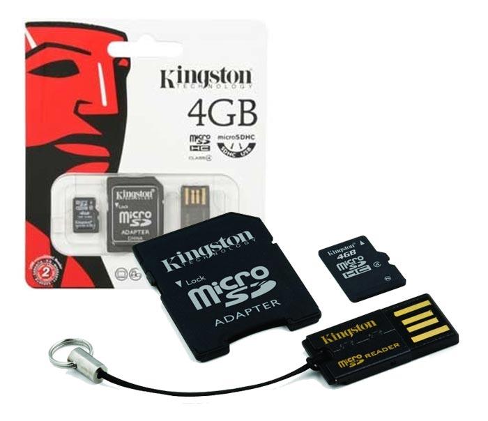 Cartão de Memória SD Micro + Leitor USB 4Gb Kingston MBLY4G2/4GB