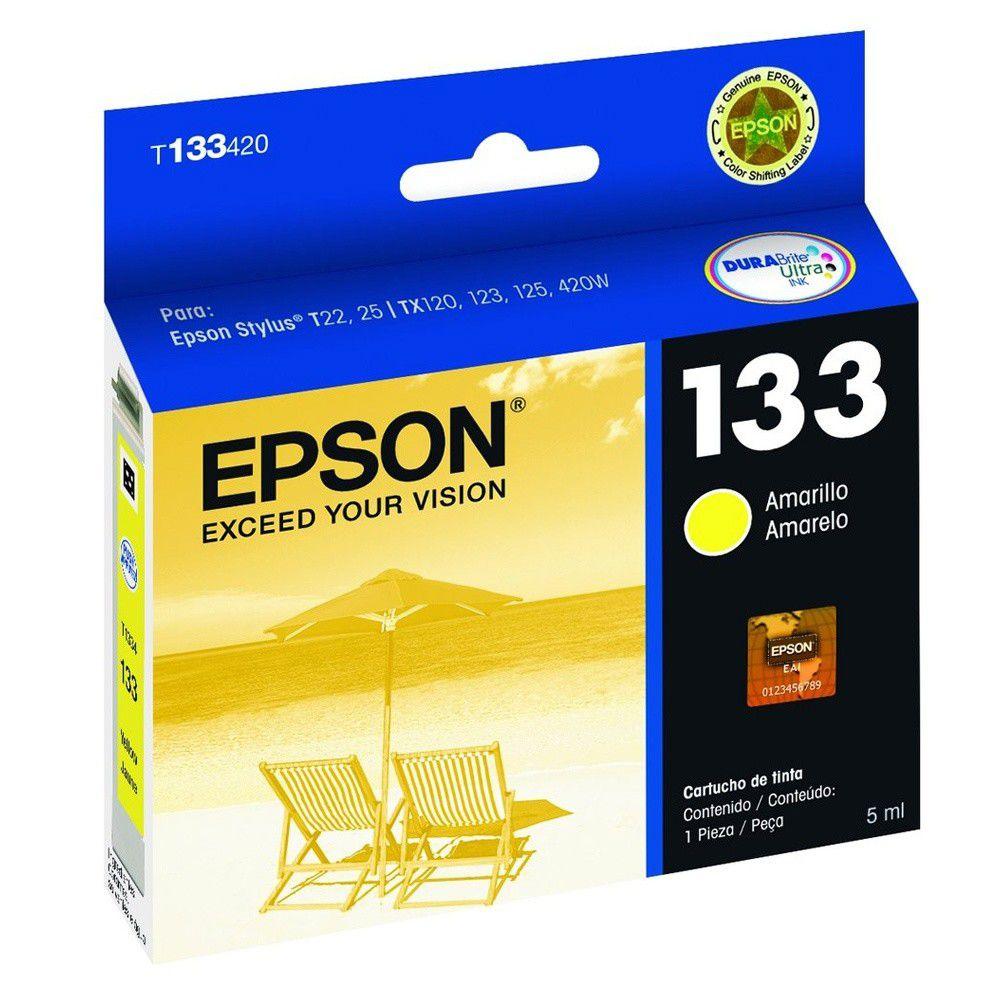 Cartucho Epson 133 T1334 Amarelo para TX120 TX123 TX125 Tx133 Tx135