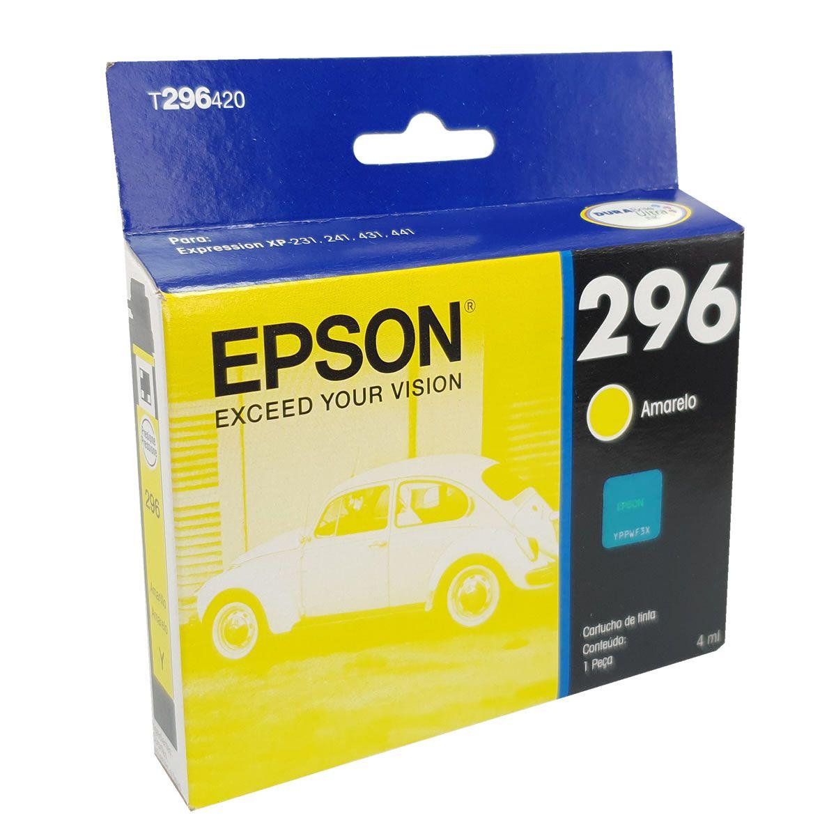 Cartucho EPSON 296 T296420 Amarelo para XP-231 431 T296 TO296 T0296