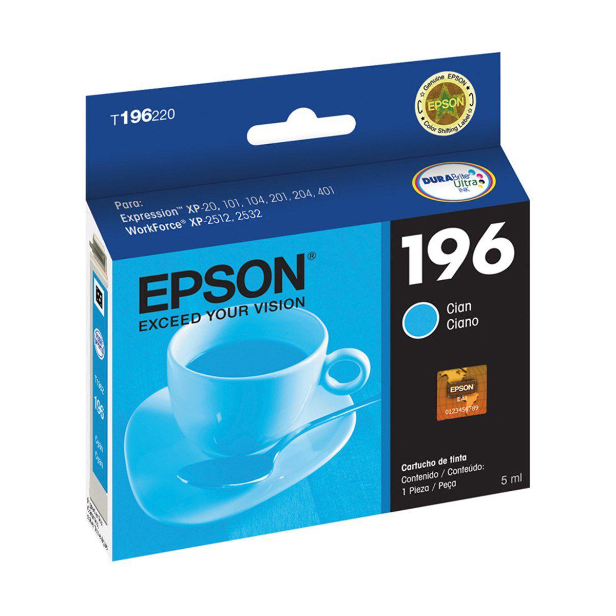 Cartucho Epson Ciano T196220 T196 196 para XP-204 XP-214 XP-401 XP-411 WF-2512 WF-2532