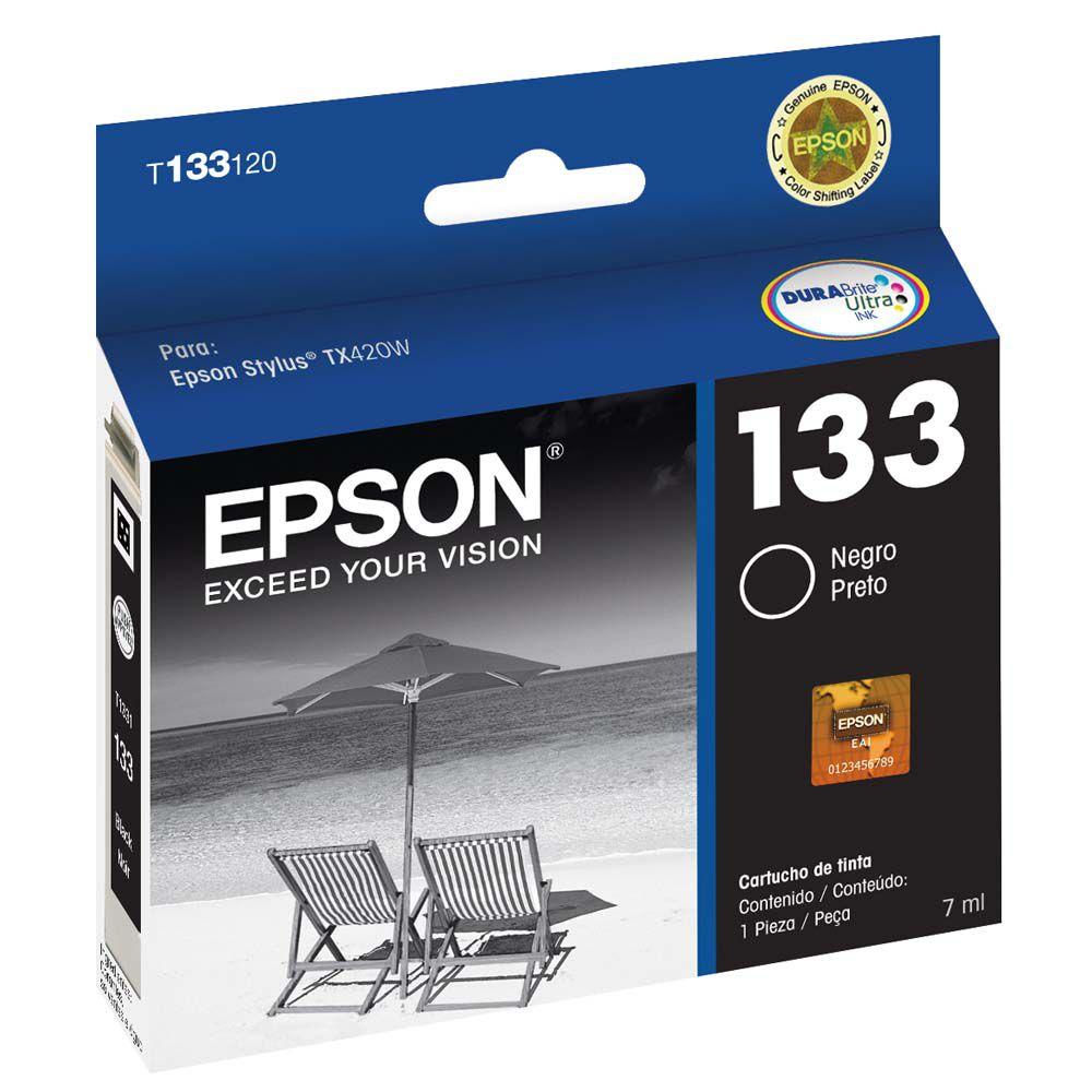Cartucho Epson Preto T133120 T133 133 para Stylus TX235W TX420W TX430W TX320F