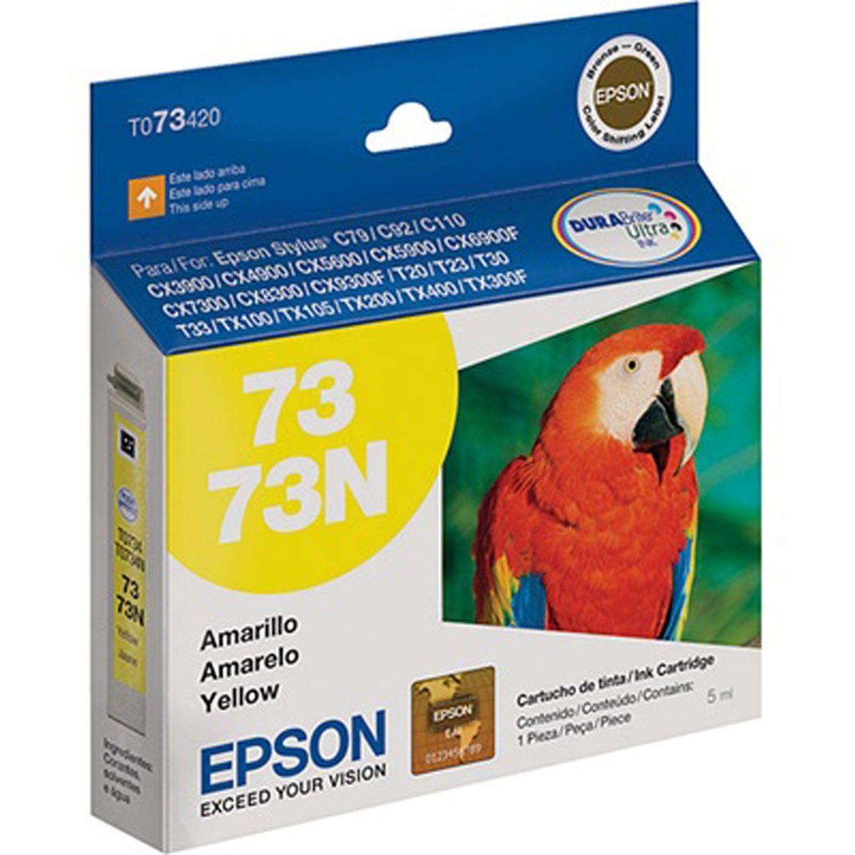 Cartucho Epson T073420 TO734N TO734 734 Amarelo para c79 C92 c110 cx5600 tx300 cx4900 T24 T33