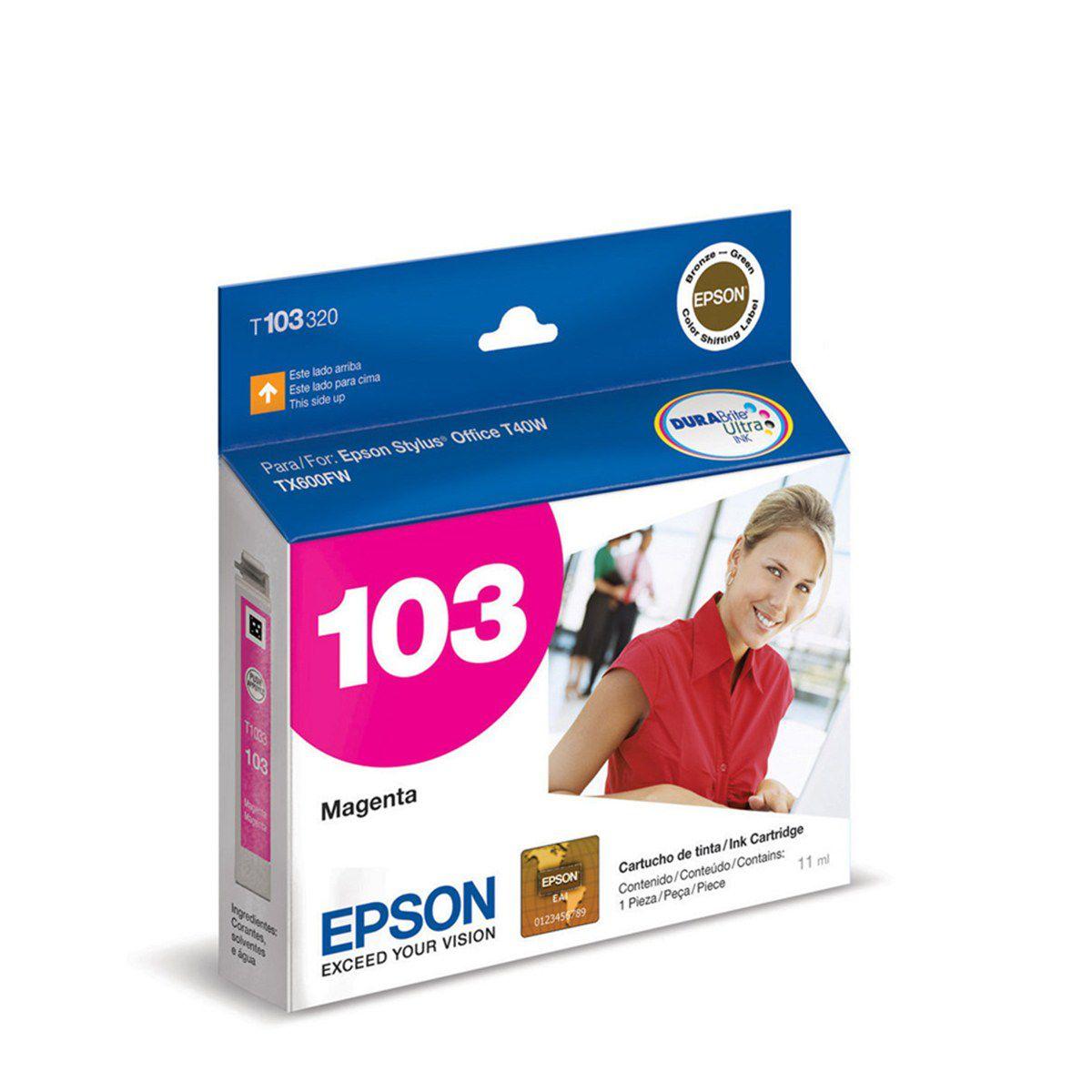 Cartucho Epson T103320 T103 103 Magenta para T40w TX600FW T1110 TX515 TX550w