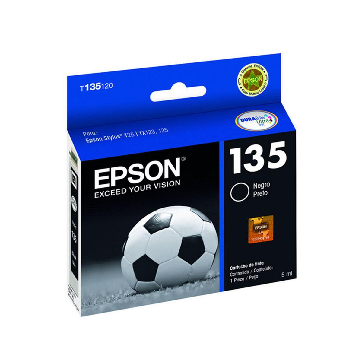 Cartucho Epson T135120 T135 135 para Stylus T25 TX123 TX125 TX133 TX135 Preto