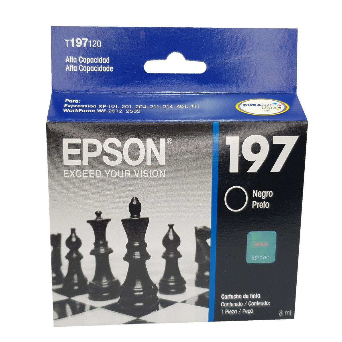 Cartucho EPSON T197120 T197 197 Preto para XP-204 XP-214 XP-401 WF-2512