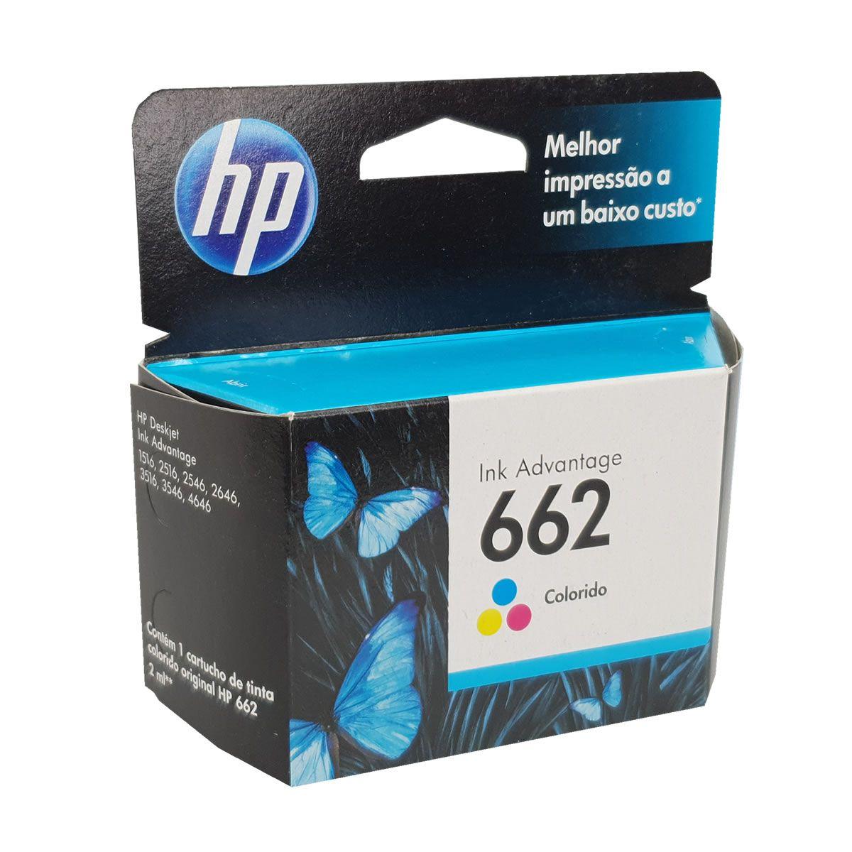 Cartucho HP662 colorido original HP para 2515 2516 3515 3516