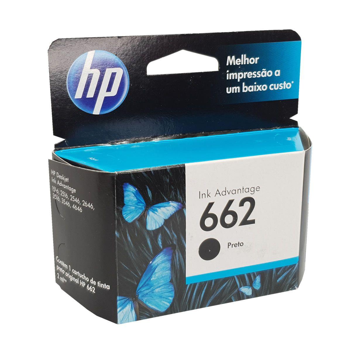 Cartucho HP 662 Preto para 2515 2516 3515 3516