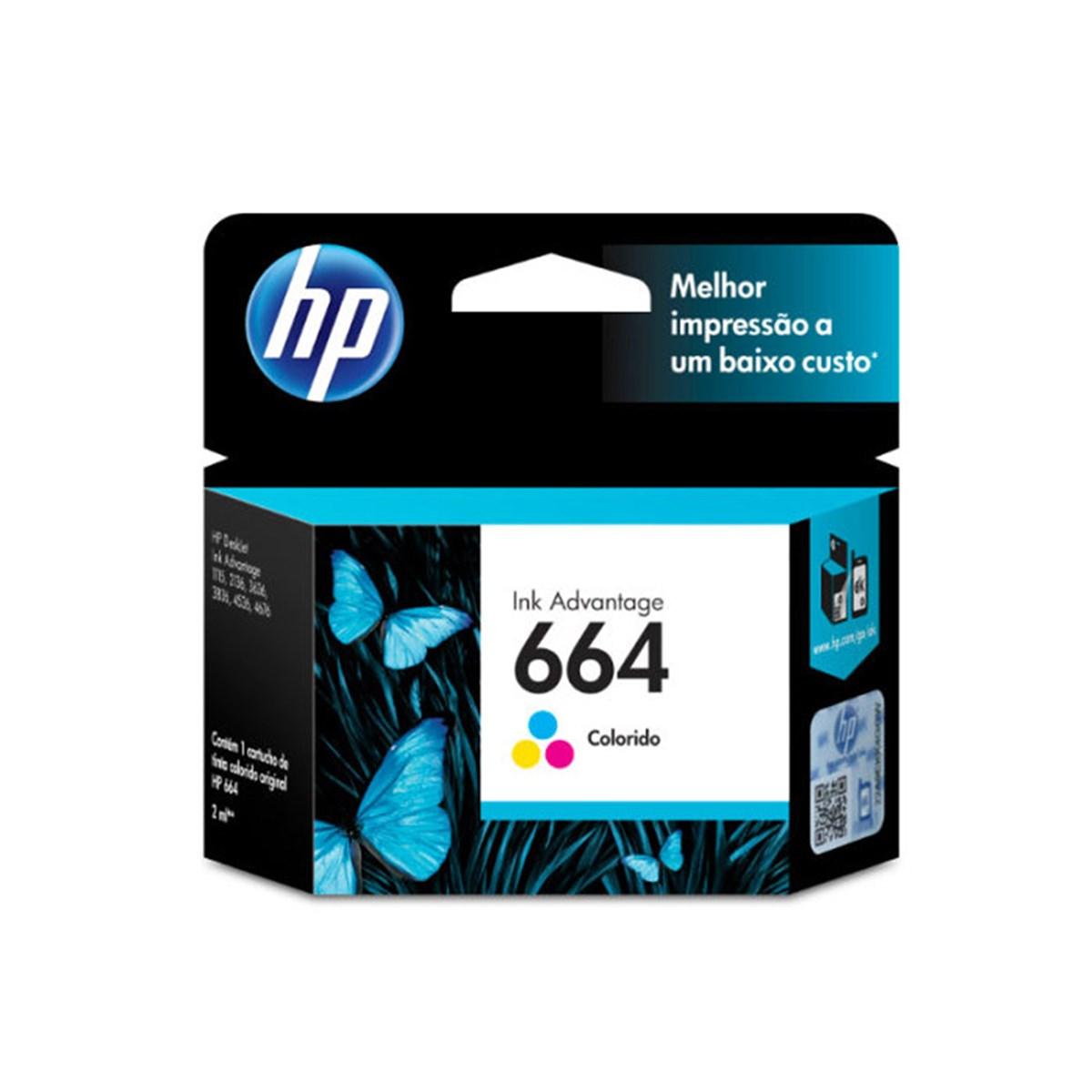 Cartucho HP664 HP 664 F6V28AB Colorido para 1115 2136 3636 3836 4536 4676