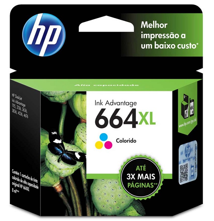 Cartucho HP664XL HP 664XL F6V28AB Colorido para 1115 2136 3636 3836 4536 4676