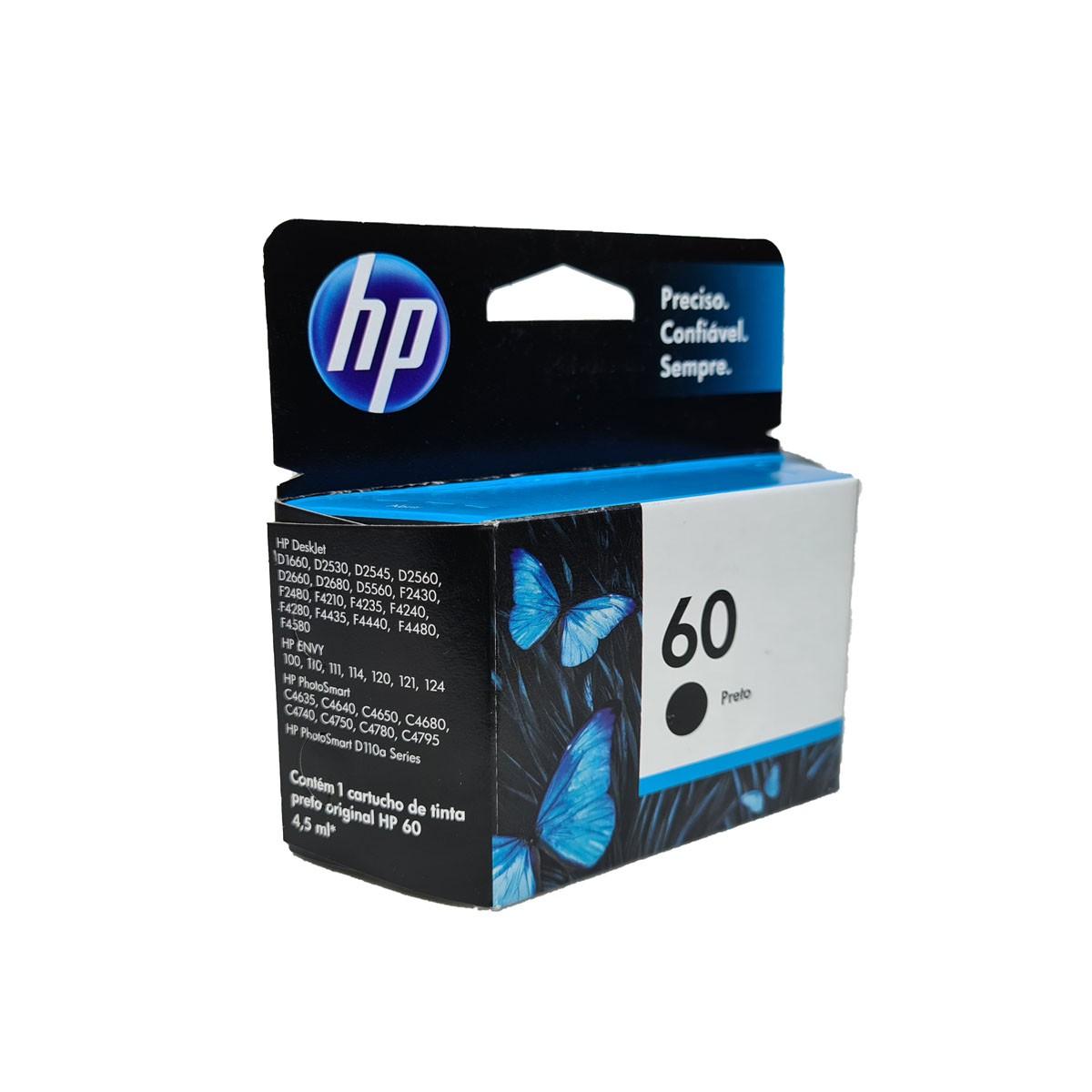 Cartucho HP 60 CC640WB Preto para D1660 F4280 F4480 F4580 C4680 D110