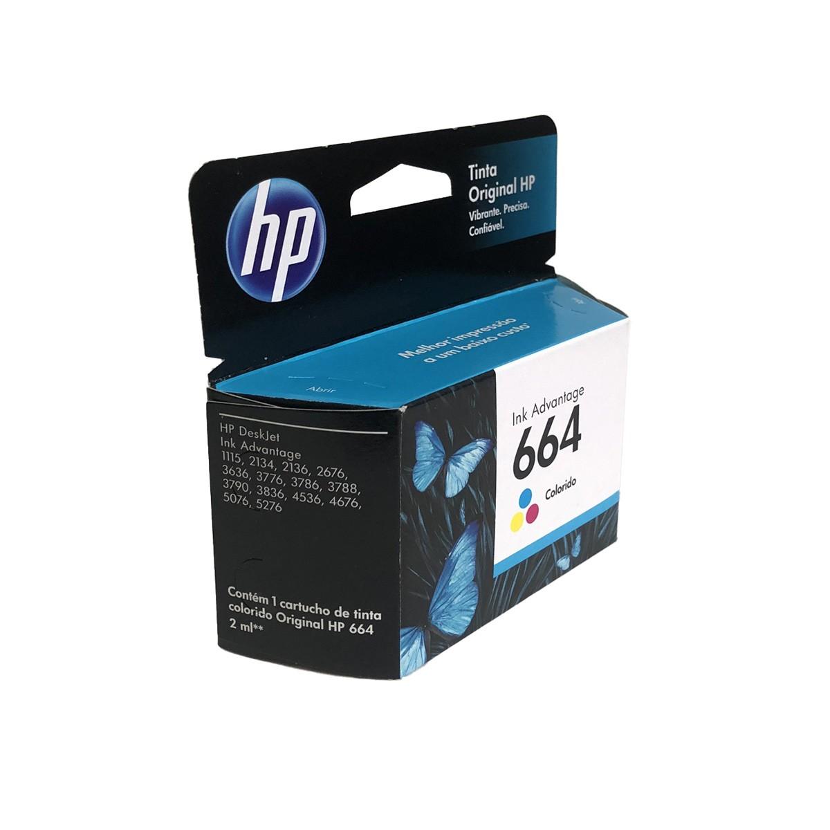 Cartucho HP 664 F6V28AB Colorido 2ml para 1115 2136 3636 3836 4536 4676