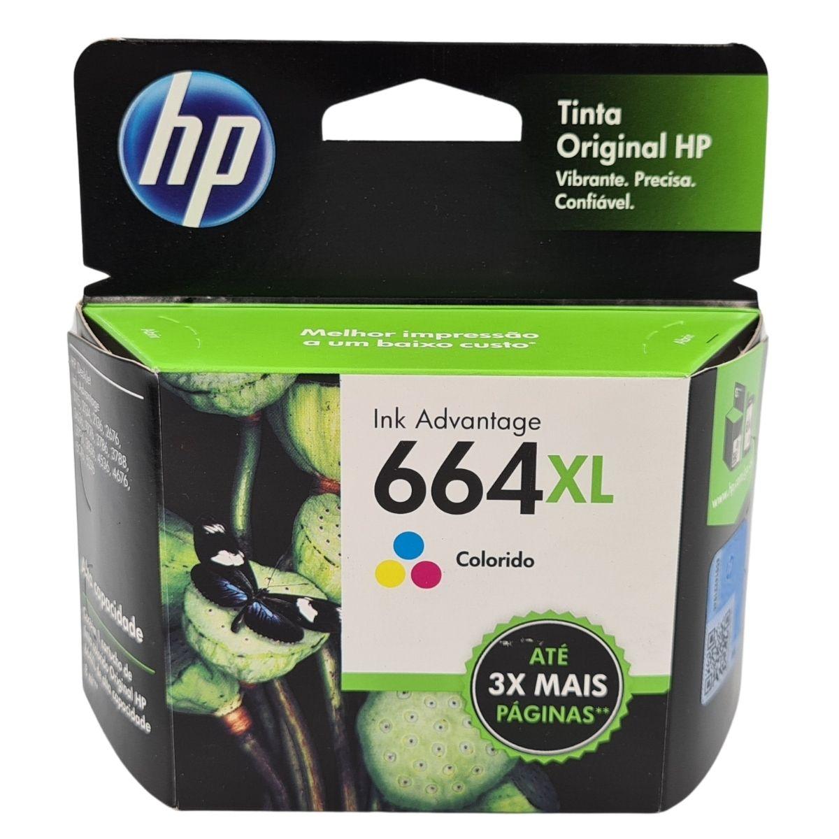 Cartucho HP 664XL Colorido para 1115 2136 3636 3836 4536 4676