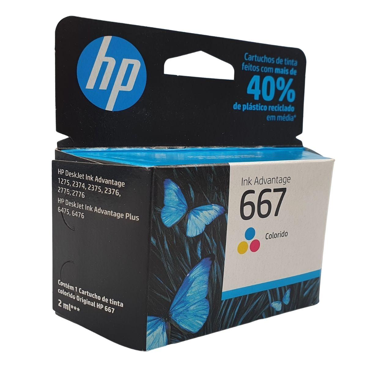 Cartucho HP 667 3YM78AB Color 2ml para 1275 2374 2375 2376 2775 2776 6475 6476