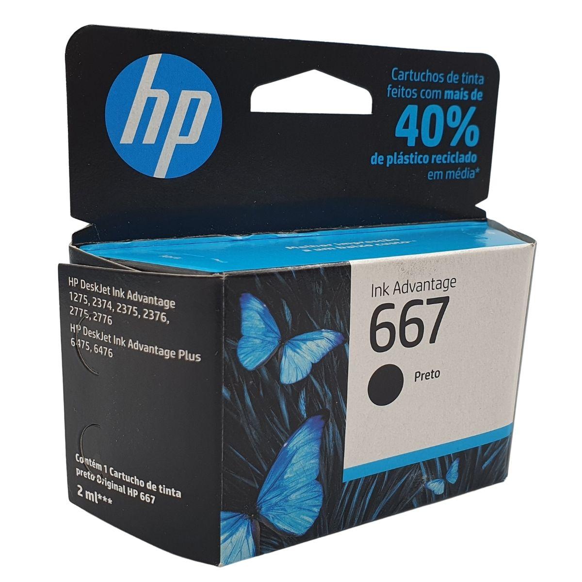 Cartucho HP 667 HP667 3YM79AL Preto para 2376 2775 2776 6475 6476
