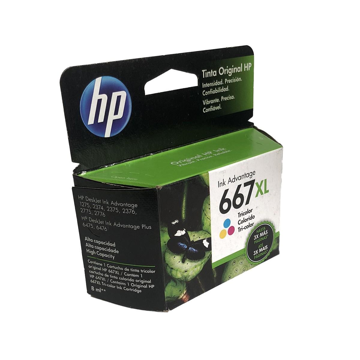 Cartucho HP 667XL 3YM80AL Colorido  Alto rendimento para 2376 2775 2776 6475 6476
