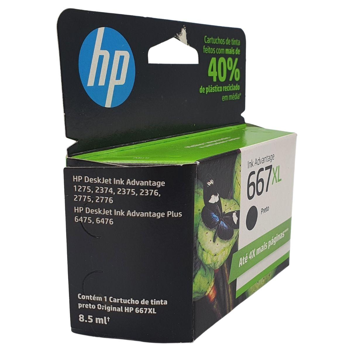 Cartucho HP 667XL 3YM81AL Preto Alto rendimento para 2376 2775 2776 6475 6476
