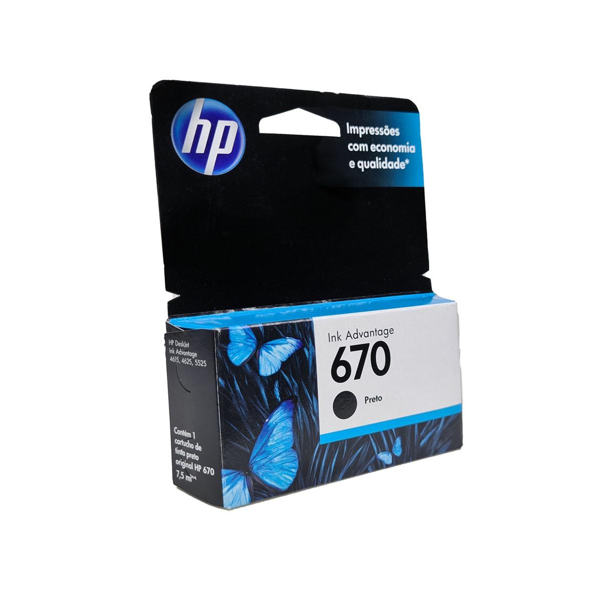 Cartucho HP 670 CZ113AB 7.5ml Preto para 3525 4615 4625 5525