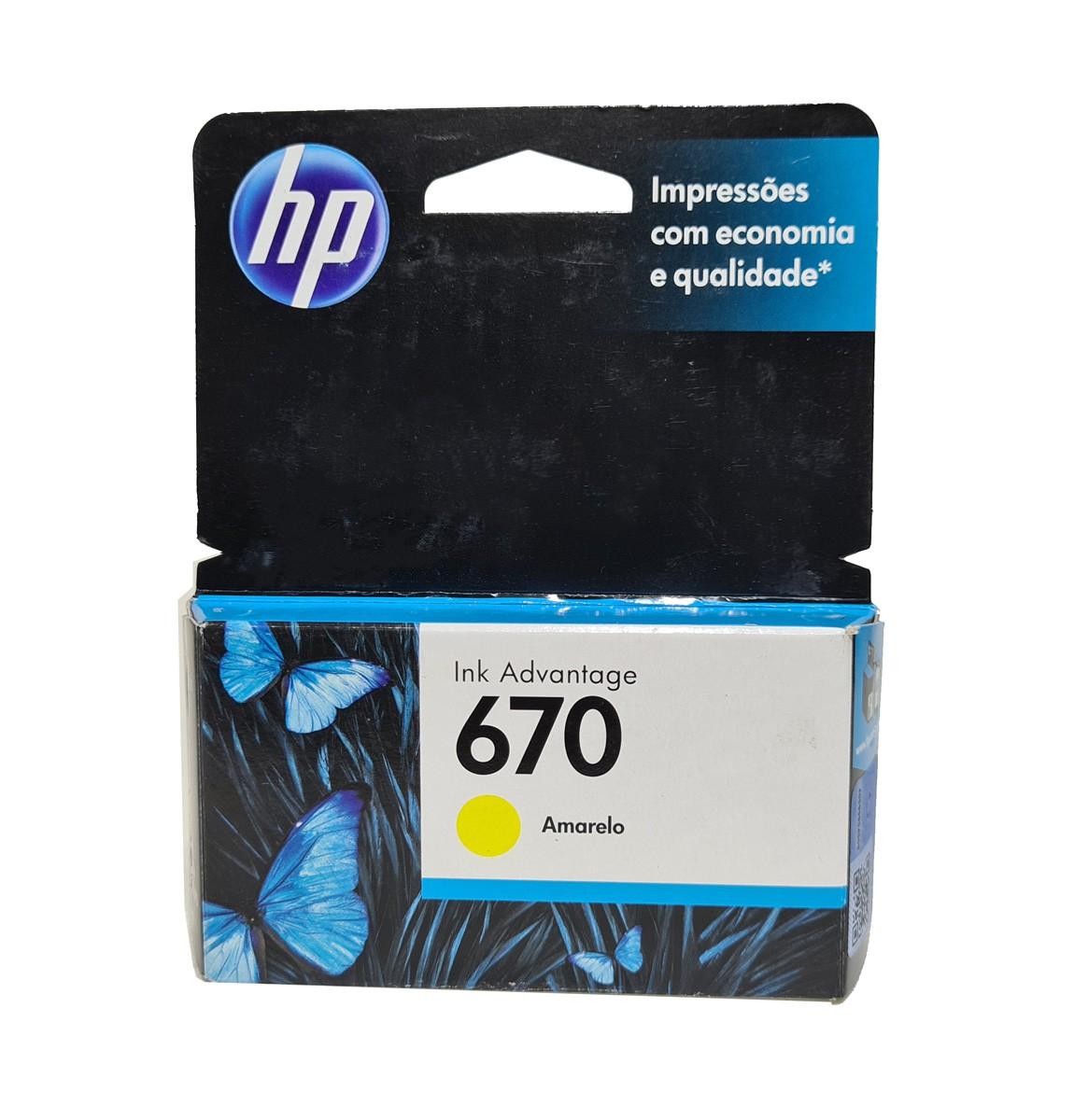 Cartucho HP 670 CZ116AB 3.5ml Amarelo para 3525 4615 4625 5525