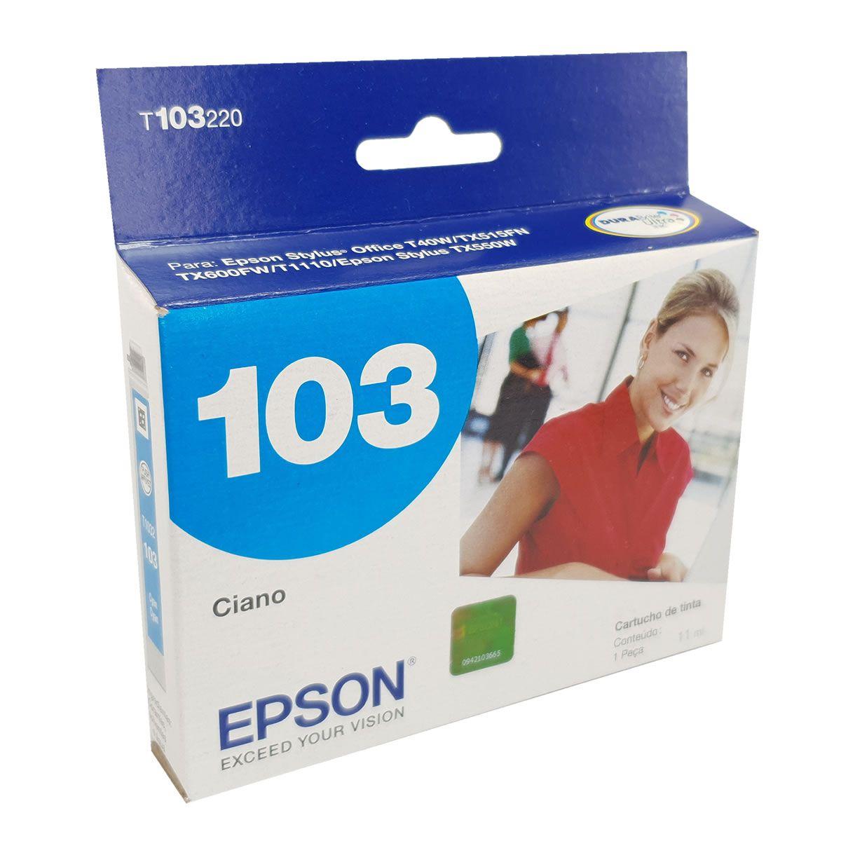 Cartucho EPSON T103220 T103 103 Ciano para T40W TX600FW TX550W